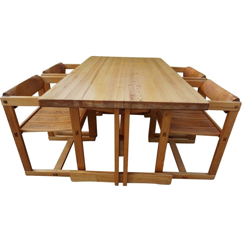 Vintage model Trybo dining table and 4 chairs by Edvin Helseth for Stange Bruk Norway, 1966