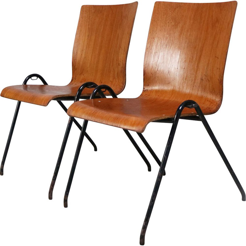 Set of 4 vintage danish stacking chairs 1960