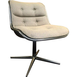 Vintage armchair in aluminum and fabric, Charles POLLOCK - 1960s