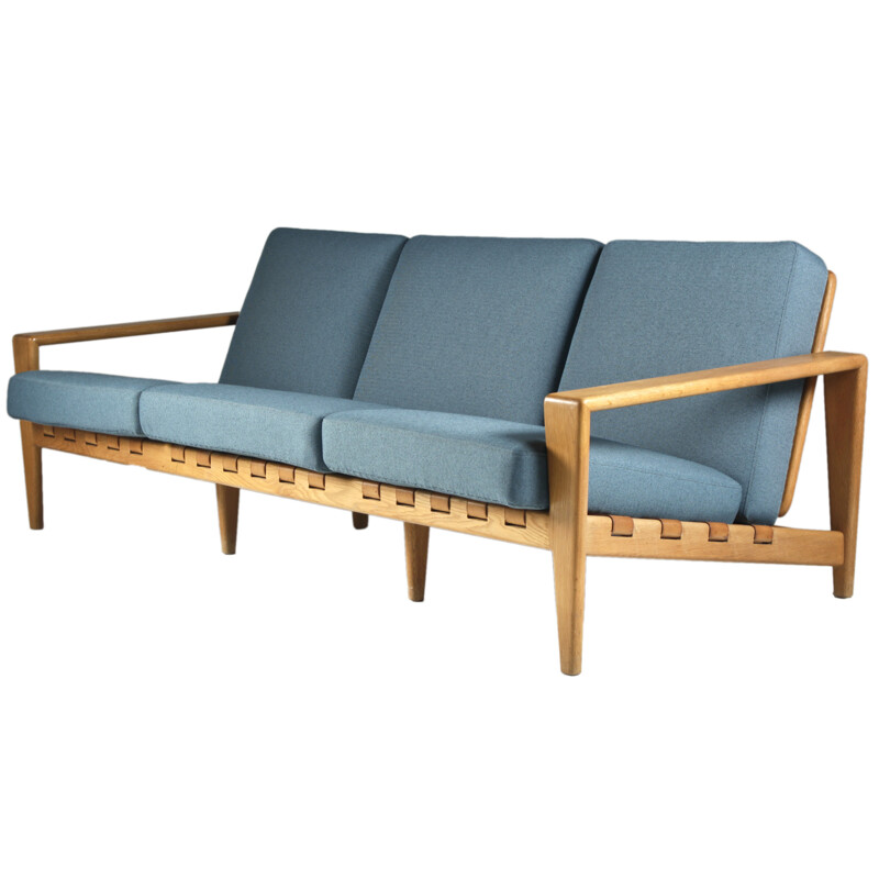 Seffle Mobelfabrik 3-seater sofa in oakwood, Svante SKOGH - 1950s