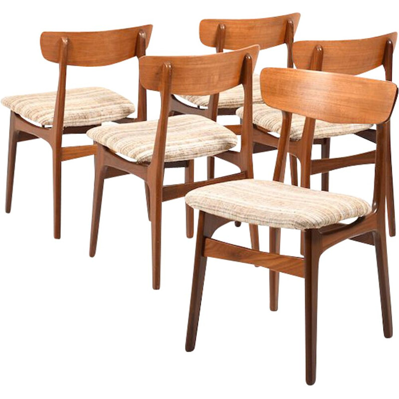 Set of 5 danish vintage dining chairs in teak, 1960s
