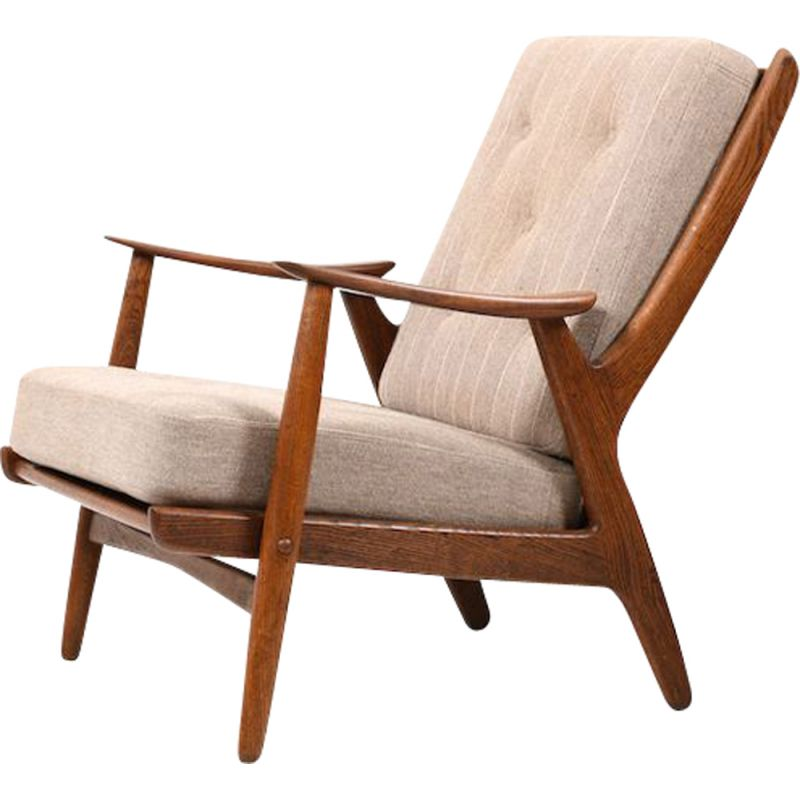 Oak danish vintage armchair, 1950s