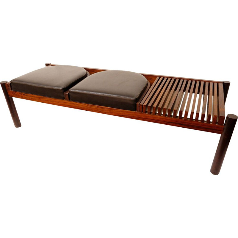 Rosewood bench with black leatherette seats, 1960