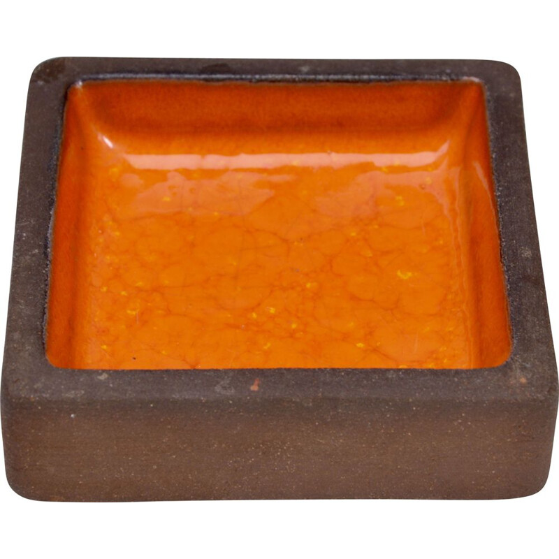 Rectangular stoneware vintage bowl with orange ceramic by Knabstrup, 1960s