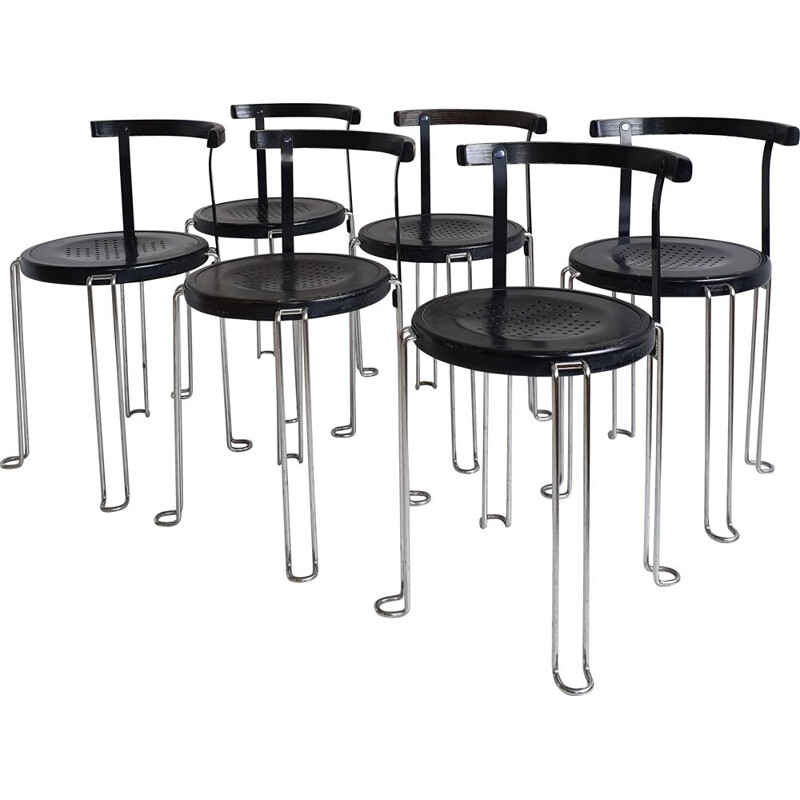 "Set of 6 ""B4"" vintage stacking chairs by Börge Lindau & Bo Lindekrantz for Bla Station, 1980s"