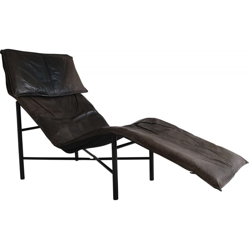 Brown leather vintage lounge chair by Tord Björklund for Ikea, 1980s