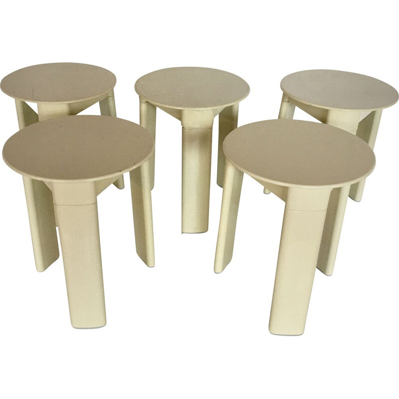 Set of 5 stools by Olaf Von Bohr for Gédy, Italy, 1970s