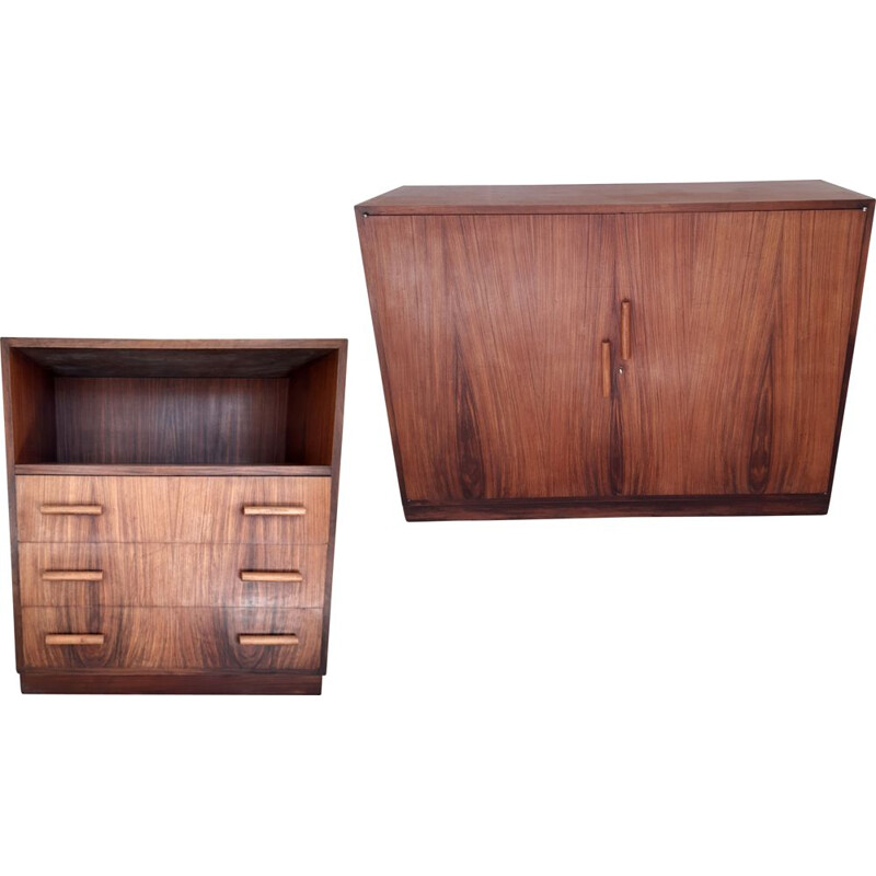 Convenient Art Deco set and rosewood buffet, 1930