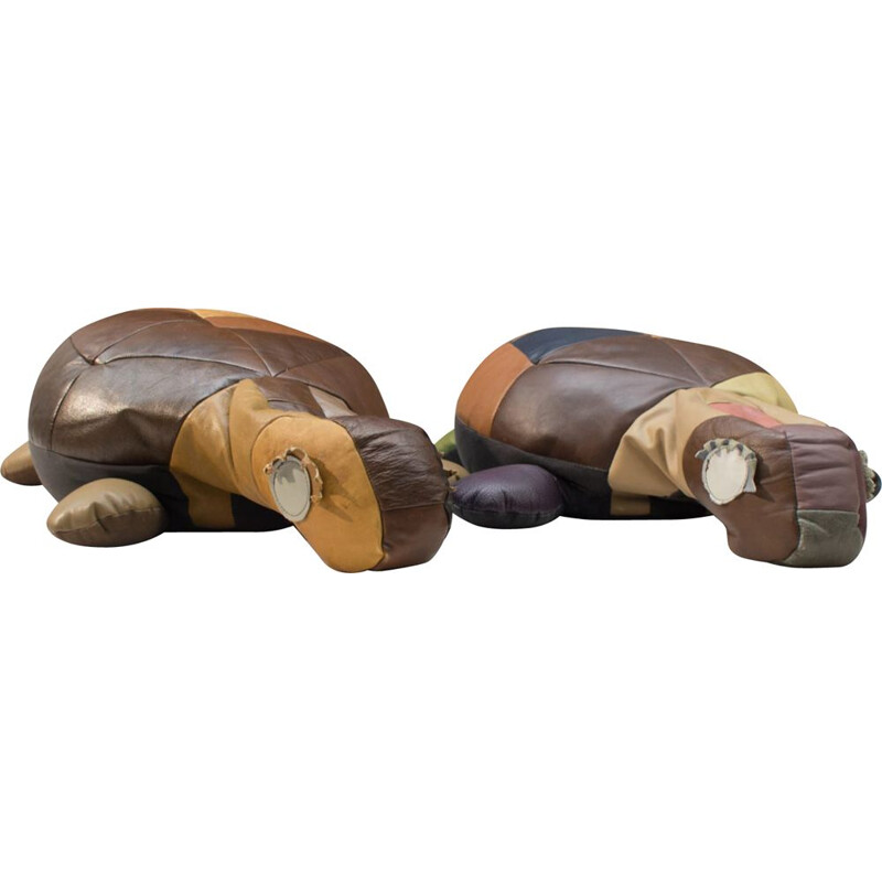 Set of 2 vintage leather Turtle poufs, 1960s