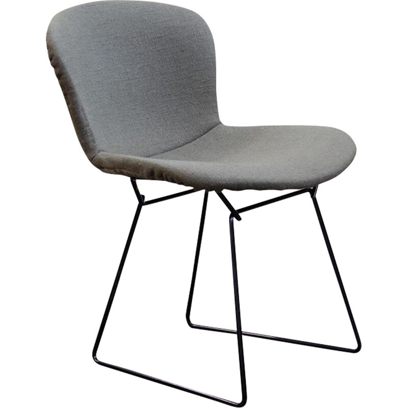 Vintage khaki and steel chair by Harry Bertoia from Knoll