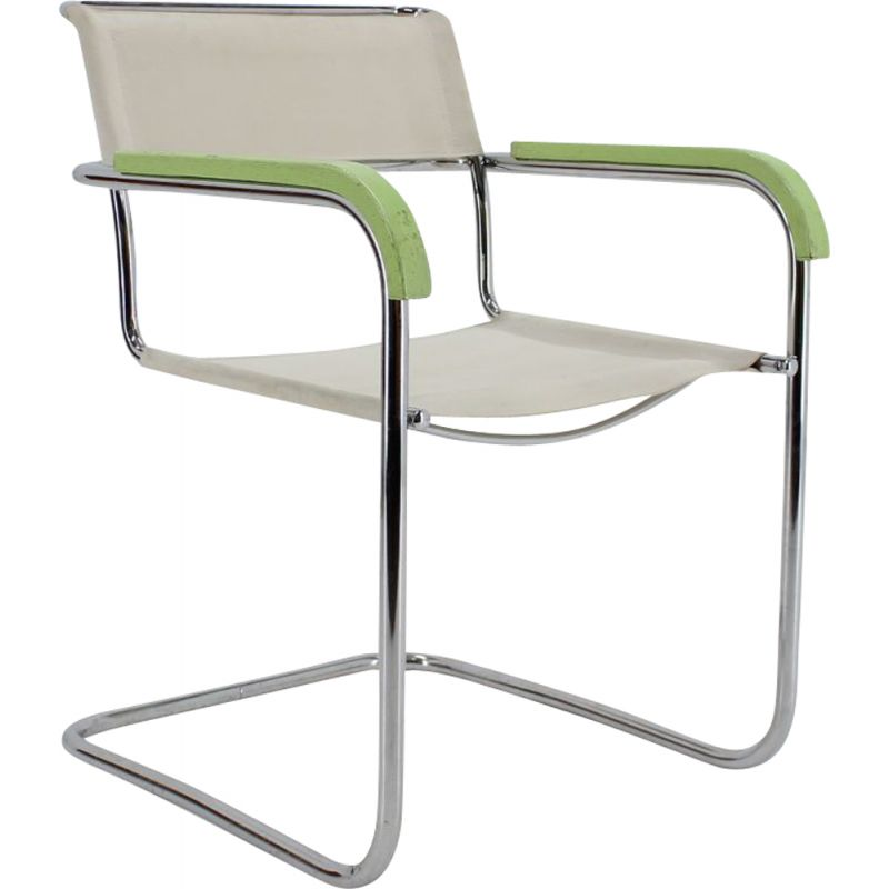 Vintage white B34 chair by Marcel Breuer for Thonet, 1930s