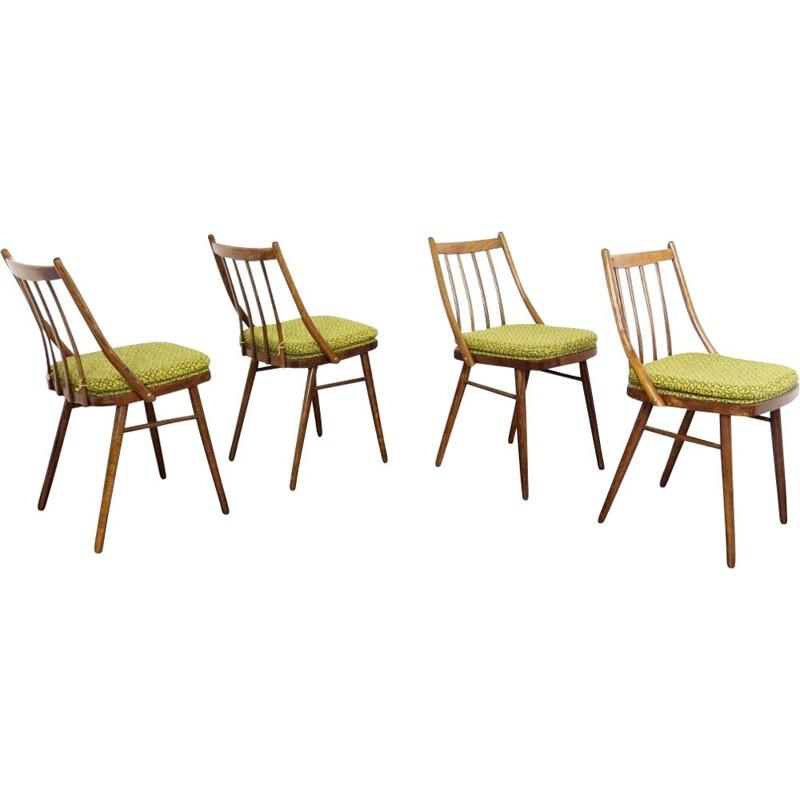 Set of 4 vintage in fabric and wooden dining chairs, 1960s