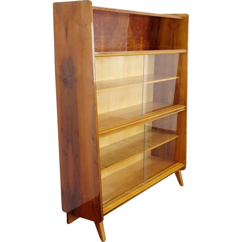 Vintage wooden and glass bookcase by Tatra Pravenec, 1960s