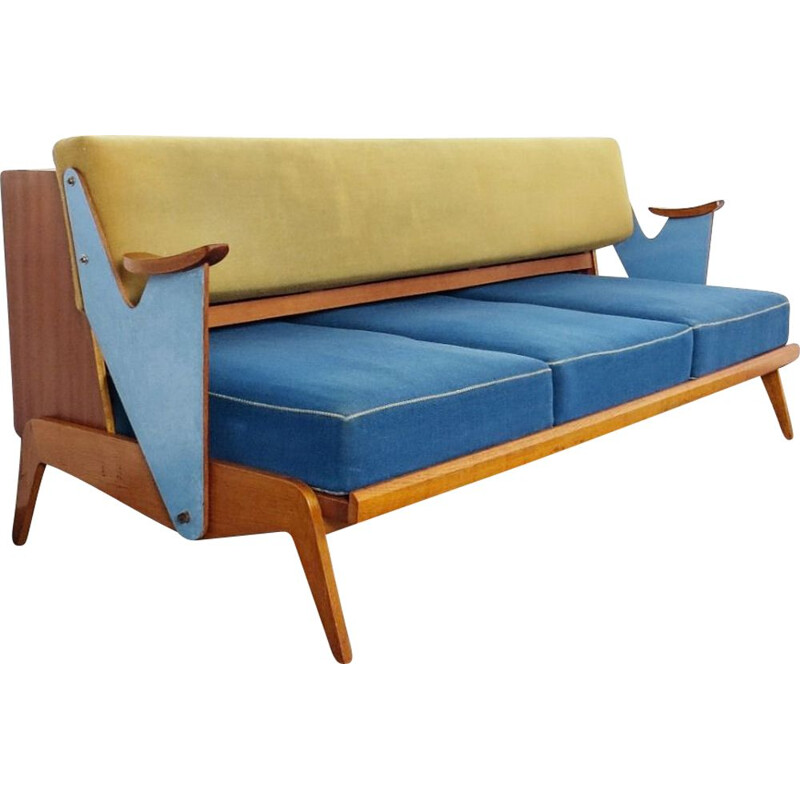 Vintage blue and yellow 3-seater sofa, Czechoslovakia, 1960