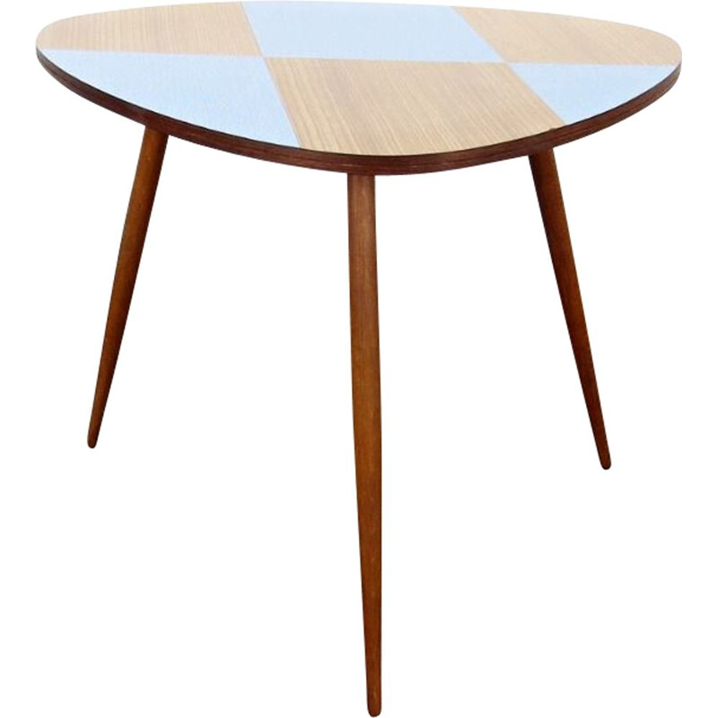 Vintage side table checkerboard pattern, Czechoslovakia, 1960