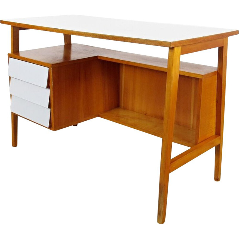 Vintage 3 drawers desk, Czechoslovakia, 1960