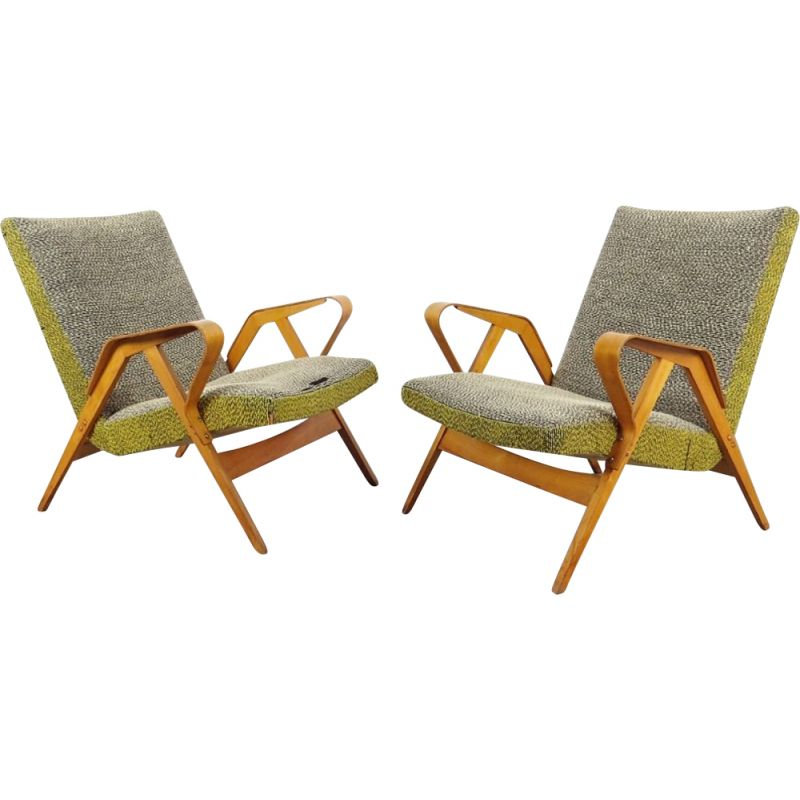 Pair of grey armchairs by František Jirak, Czechoslovakia, 1960
