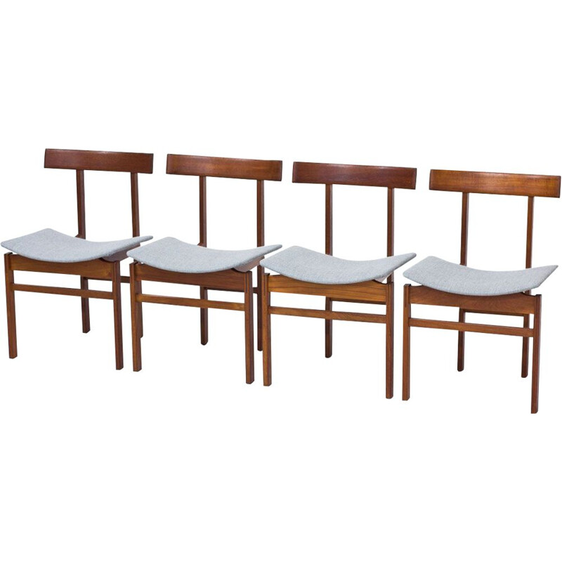 Set of 4 vintage Danish dining chairs in teak & wool by Inger Klingenberg