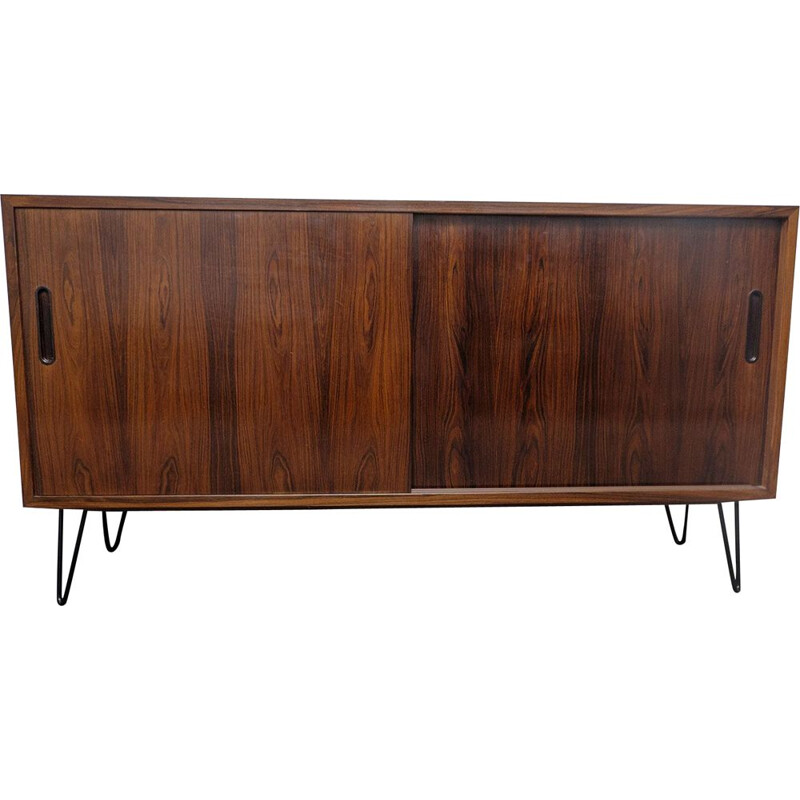 Vintage rosewood sideboard with sliding doors by Hundevad &Co