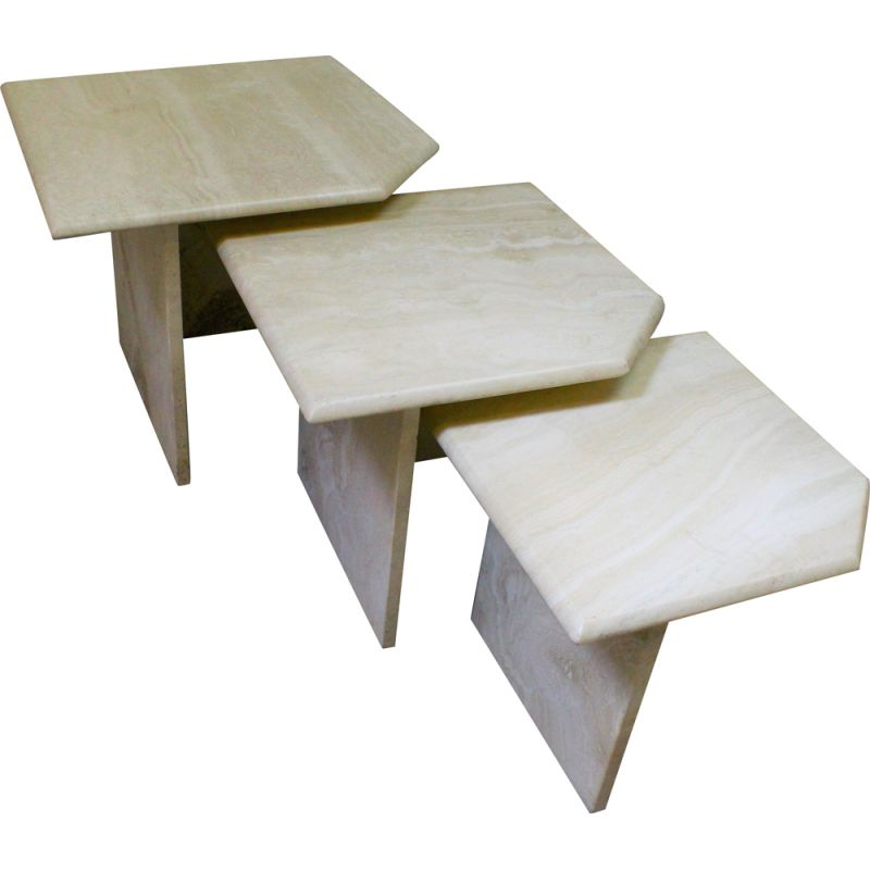 Set of 3 vintage travertine nesting tables
