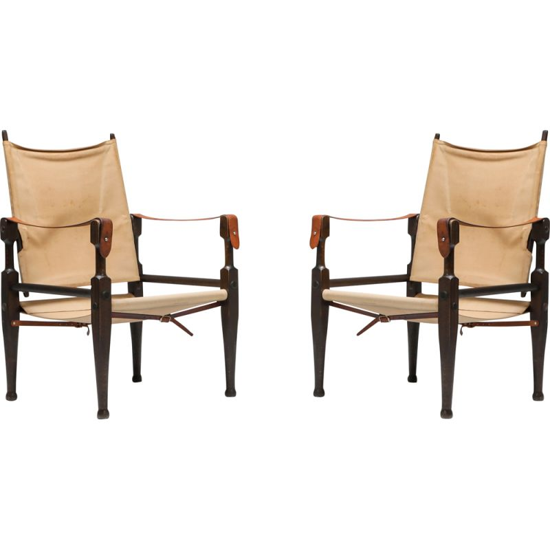 Vintage pair of Safari chairs by Kaare Klint for Rud Rasmussen, 1960s