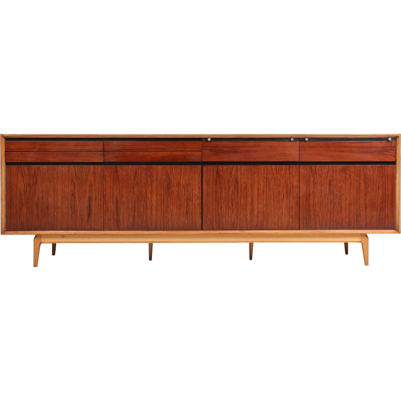 Vintage credenza in rosewood and walnut  by De Coene, 1970s