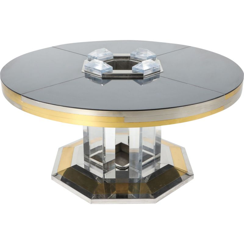 Vintage chrome & brass round dining table by Sandro Petti For Maison Jansen, 1970s