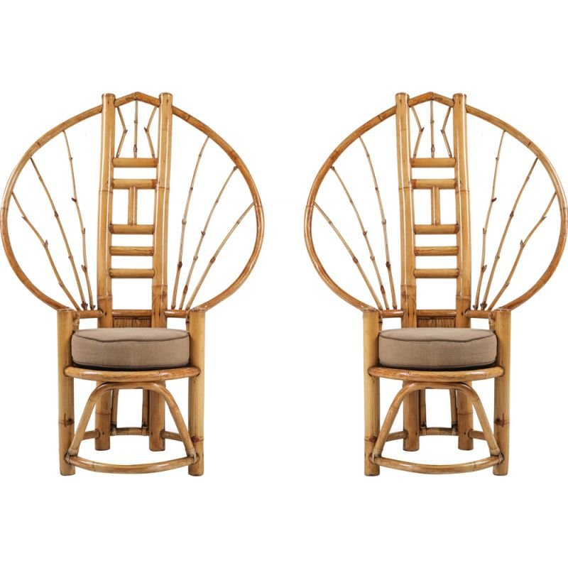 Pair of vintage bamboo peacock chairs in the style of Albini, 1970s