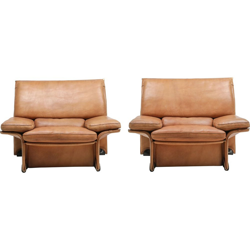 Pair of vintage thick camel leather club chairs by Titiana Ammannati & Giampiero Vitelli for Brunati, 1970s