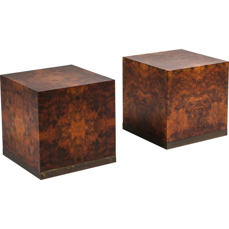 Vintage pair of burl square side tables by Jean Claude Mahey, 1970s