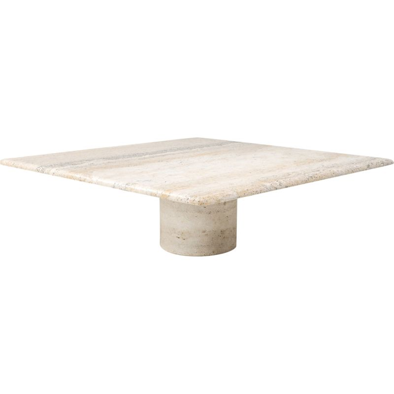 Vintage travertine coffee table by Angelo Mangiarotti, 1970s