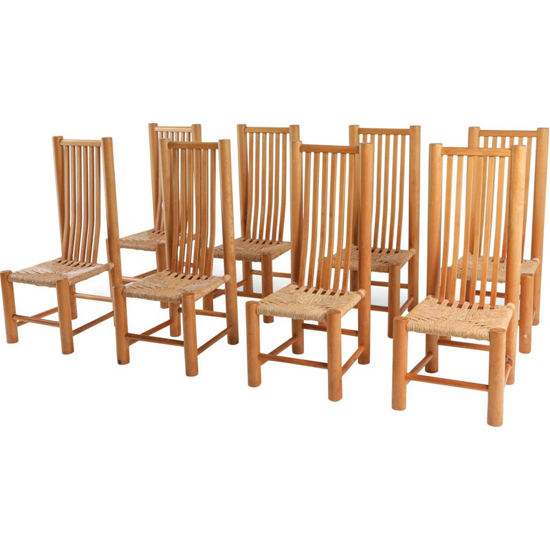 Set of 8 vintage naturalist Solid Elm Dining Room Chairs In The Style of Pierre Chapo 1960