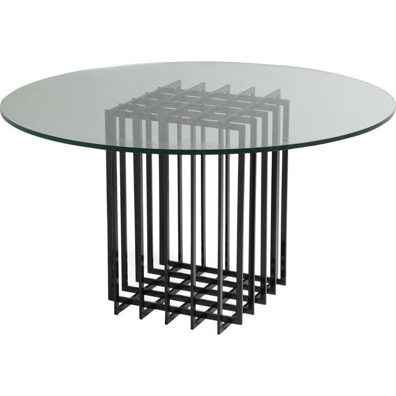 Vintage sculptural table in Glass And Metal by Pierre Cardin 1960