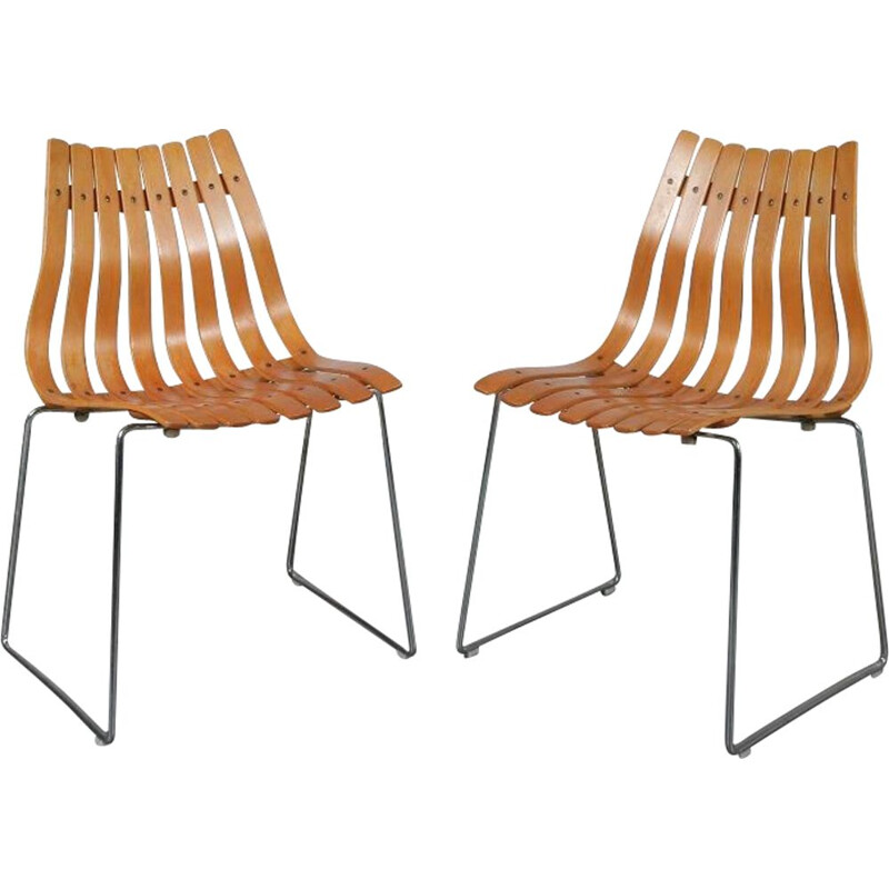 Vintage stacking chair designed by Hans Brattrud, manufactured by Hove in Norway 1960