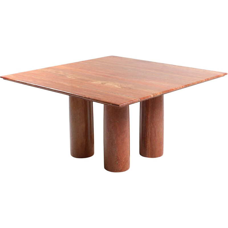 "Vintage red Travertine ""Il Collonato"" dining table by Mario Bellini 1970"