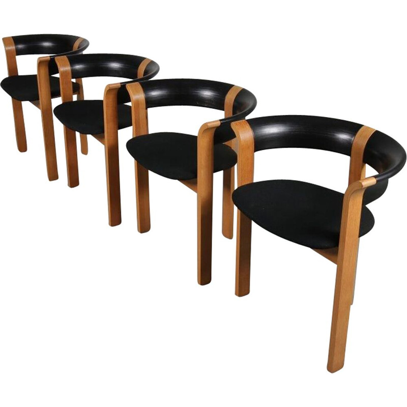 Set of 4 vintage model 4451 dining chairs designed by Rud Thygesen and Johnny Sorensen, for Magnus Olesen 1970