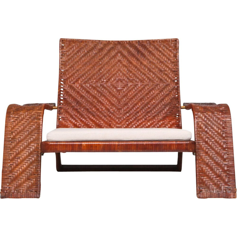 Vintage lounge chair In woven leather by Marzio Cecchi 1970