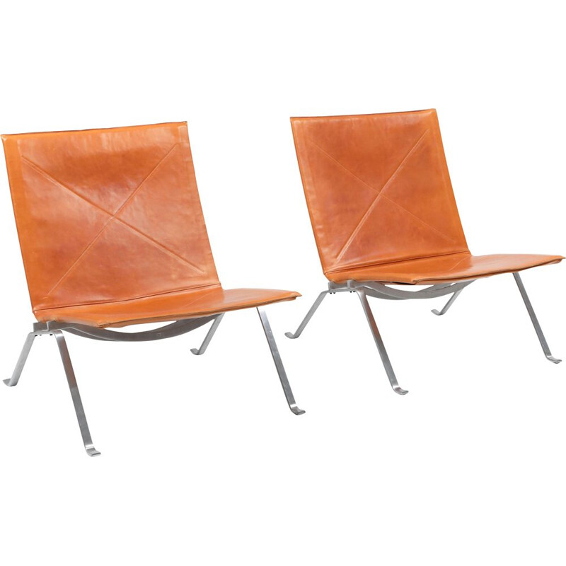 Vintage PK22 Cognac Leather Kold Christensen Lounge Chairs 1960