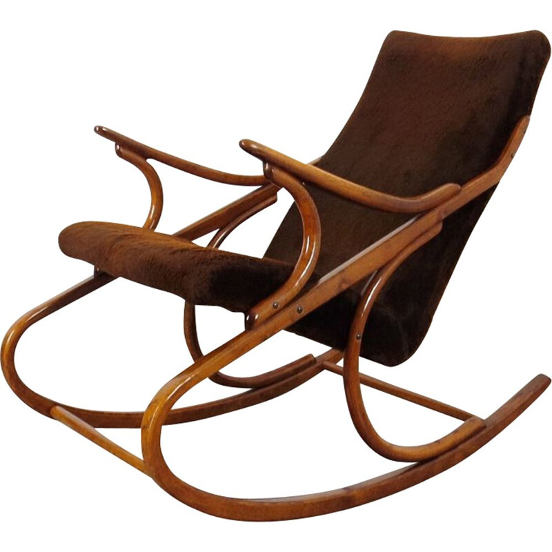 Vintage wooden and fabric rocking chair by Antonin Suman, 1960s