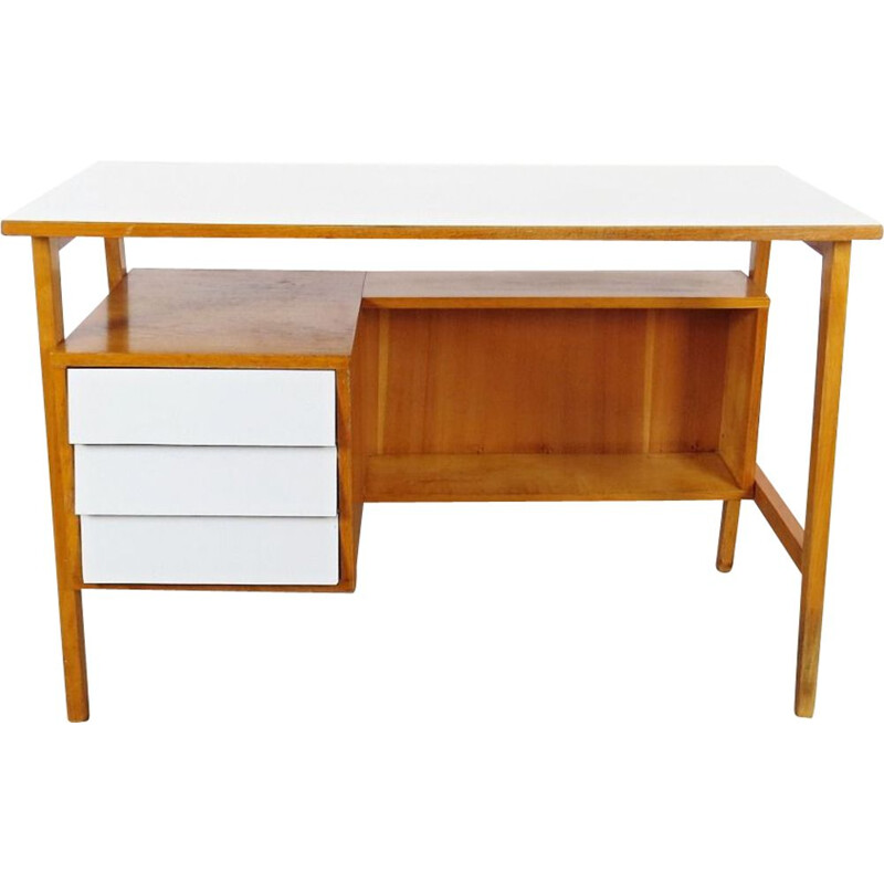 Vintage wooden and white desk, 1960s