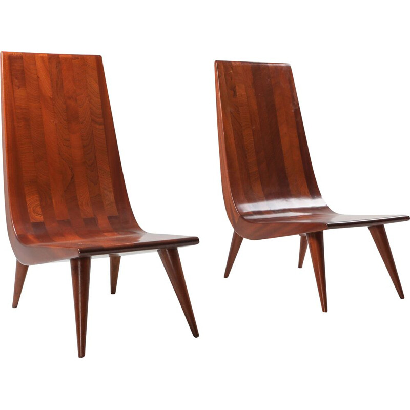 Set of 2 vintage rosewood chairs, 1970s