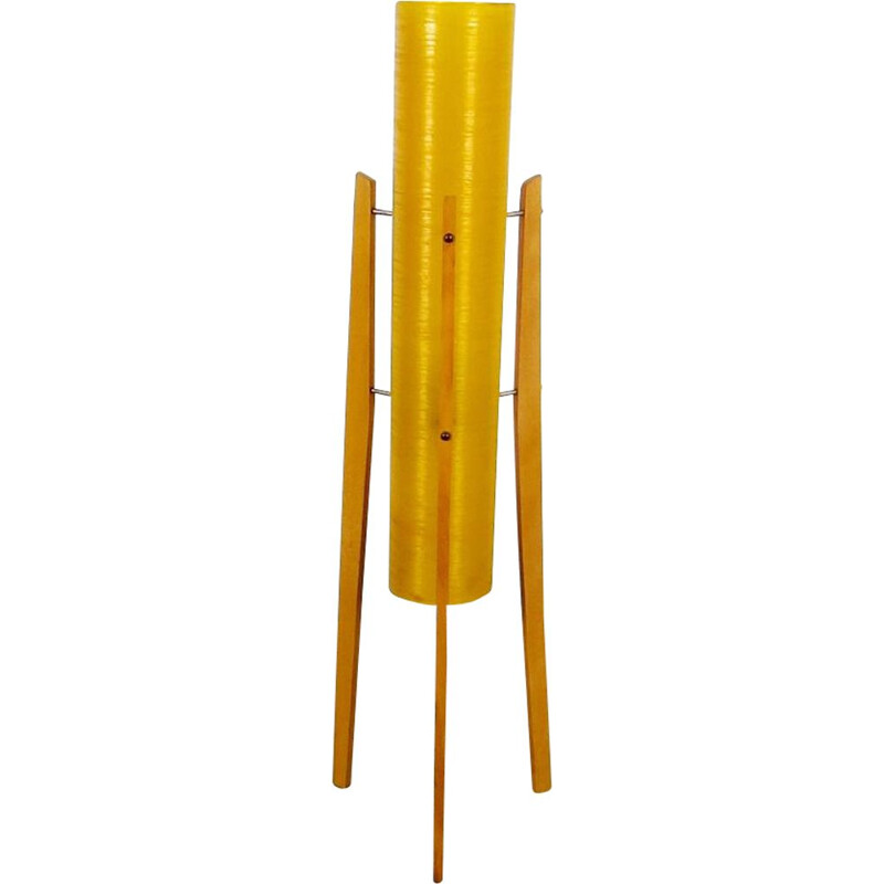 Vintage yellow floor lamp by Josef Hurka, 1960s
