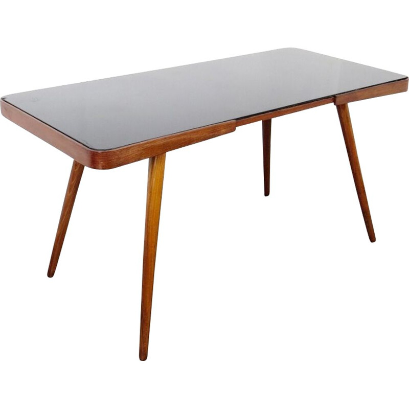 Vintage wooden and glass table, 1960s