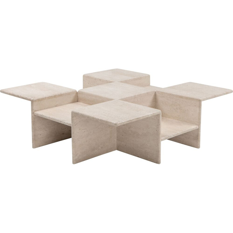Vintage travertine coffee table, Italy, 1970s