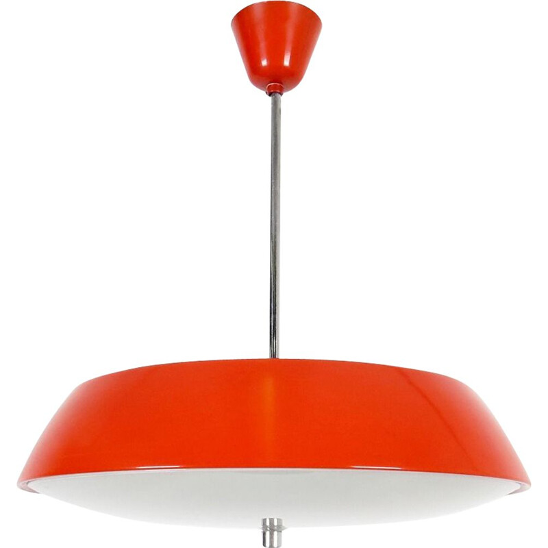 Vintage red pendant light by Josef Hurka, 1960s