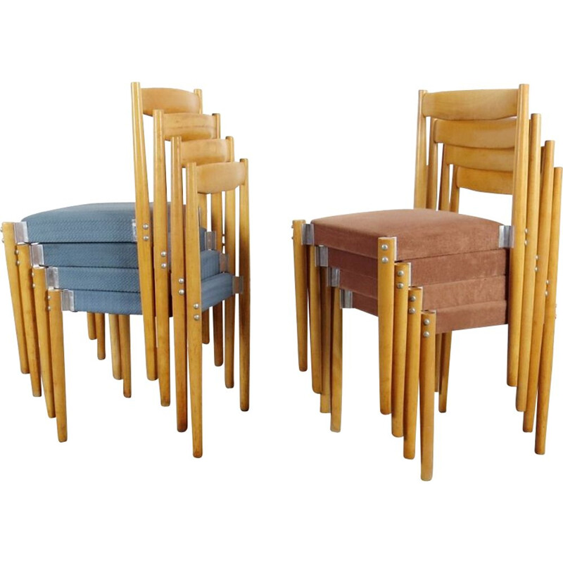 Set of vintage dining chairs by Miroslav Navratil, 1960s