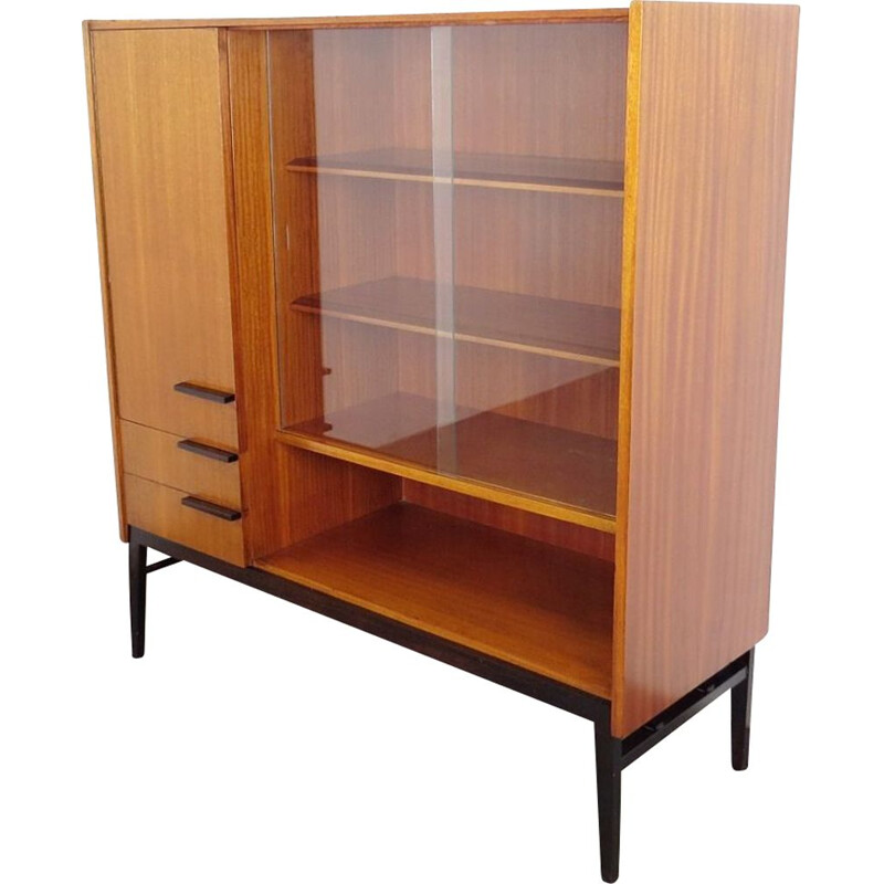 Vintage wood and glass bookcase by Frantisek Mezulanik, 1960s