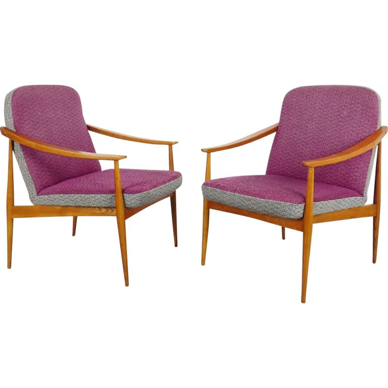 Set of 2 vintage pink armchairs, 1960s