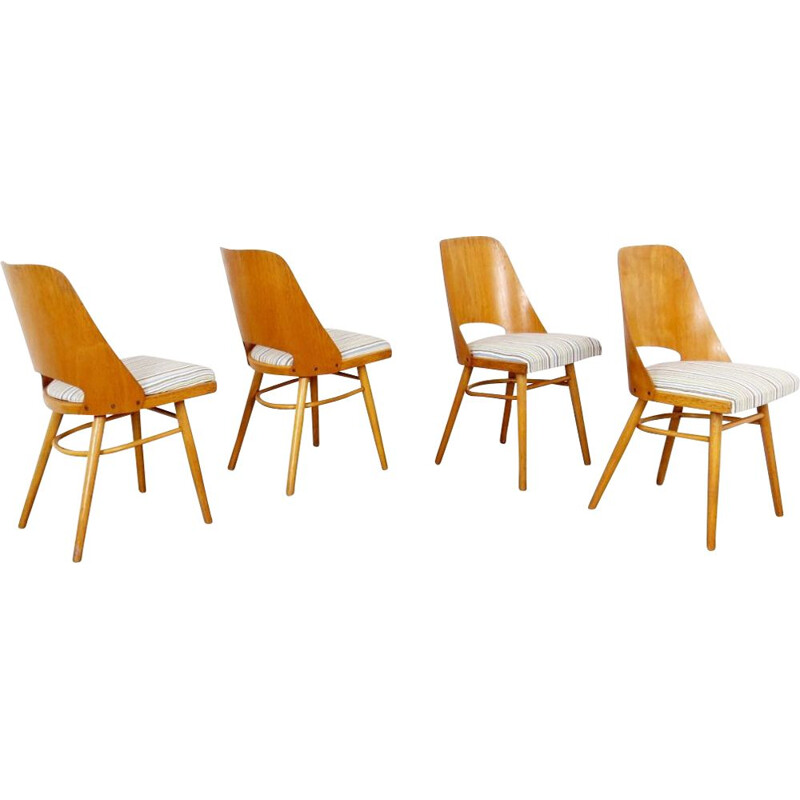 Set of 4 vintage wooden dining chairs by Ton, 1960s