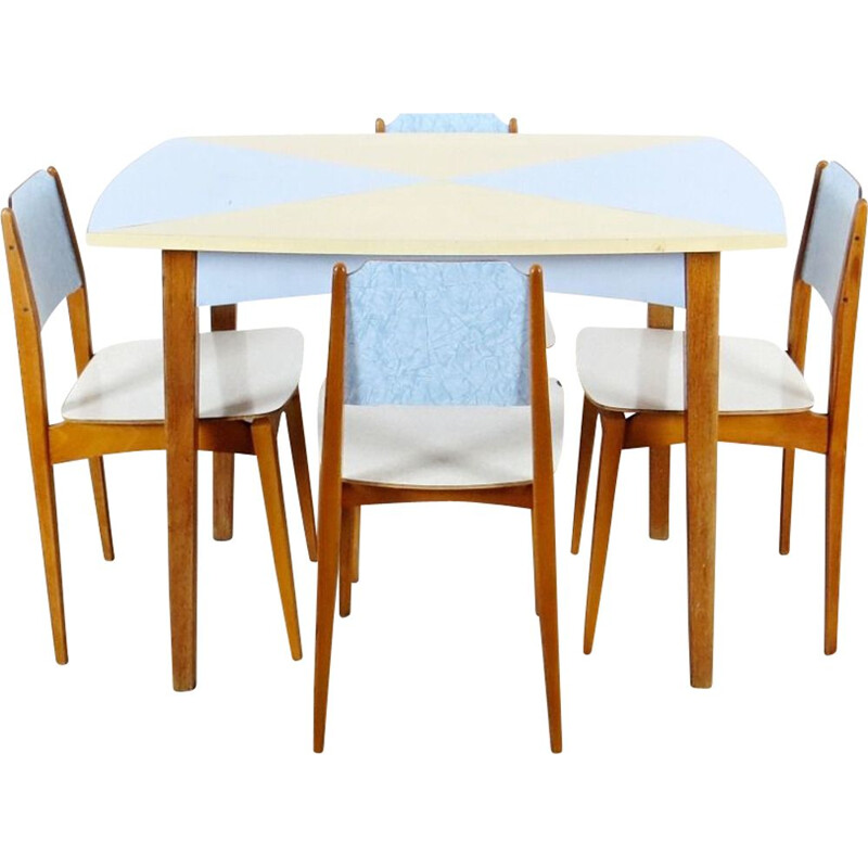 Vintage scandinavian wooden dining set, 1960s